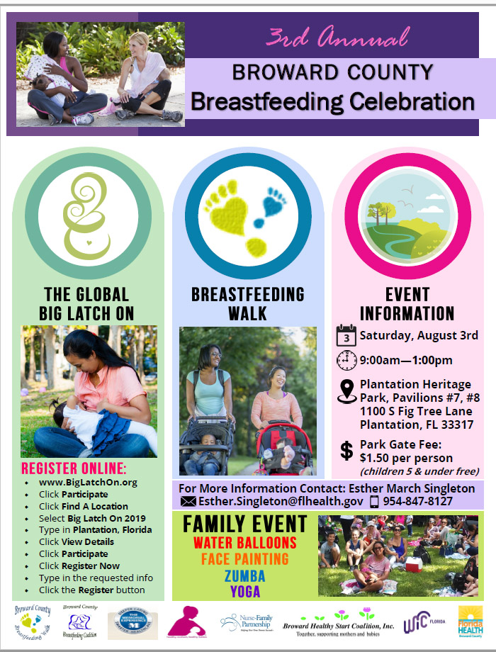 Schedule of Events for Global Big Latch On. Saturday, August 3rd. Heritage Park, Plantation